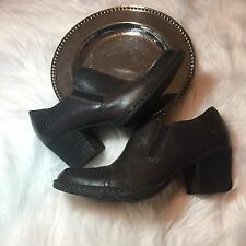 Born Anari D51722 Womens Brown Leather Heels Clogs Bootie Ankle Boots Shoes 7M