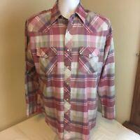 Wrangler Mens Pearl Snap Western Shirt 15 15.5 Medium Pink Plaid Long Sleeve FS!