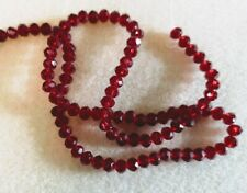 One String Rondelle Crystal beads ~100 Beads - 6mm x 4mm - Deep Garnet