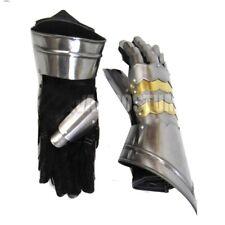 Medieval Gauntlets w Brass Plate Pair Knight Armor Mitten Costume