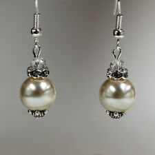 Cream ivory large pearls crystals silver drop earrings wedding bridesmaid gift