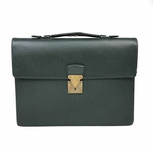 100% Authentic Louis Vuitton Taiga Serviette Kourad  Green M30074 Used {08-208D}
