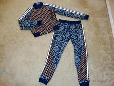 ADIDAS Women's 2 Piece Jacket Jogger Floral stamp Denim Bronze Geo Shape Set L