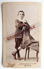 CDV PHOTO GRAFFE PARIS enfant garçon avec short et bottines E602