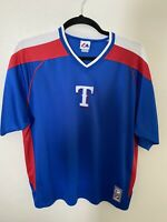Vintage Texas Rangers Mens 2XL Mesh Jersey Shirt Blue Majestic Made in USA