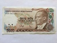 1970, 5,000 Lira Turkey High Grade and Very High Value Banknote
