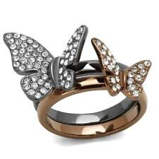 Brilliant Butterfly Light Black & Coffee IP Top Grade Cocktail Ring 5-10 TK2806