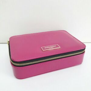 YSL Beauty Fuchsia Faux Patent Leather Makeup Cosmetic Case Bag Box with Mirror