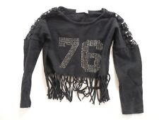"crop top "" PAPILLON "" 4 ans  Fille t-shirt noir strass franges et dentelle"