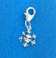 925 Sterling Silver Snowflake Clip on Charm