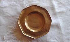 Antique Heavy Yellow Copper Octagonal Brass Pin / Change Dish 11.3cm x 11.3cm