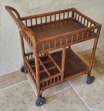 Vintage Mid Century Boho Bamboo Rattan 2 Tier Rolling Bar Breakfast Serving Cart