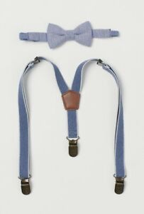 NWT H&M Boys Elastic Adjustable Suspender/Bow Tie Matching Set