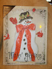 Lighted Christmas Winter Greeting Snowman Lighted Canvas Glitter NEW