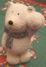 Weihnachten Eisbär weiß mit Schneeball und Schal 11 x 6,5 cm Keramik Deko Neu