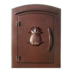 """Manchester Security Drop Chute Mailbox with """"Decorative Pineapple Logo"""" Facep..."""