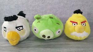 "3 ANGRY BIRDS Plush 6"" Stuffed LOT (3) - Chuck/Yellow~Matilda/White~Green Pig"