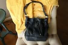 Vince Camuto Black Bucket Drawstring Bag- Perforated Leather and Silver Hardware