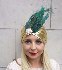 Emerald Green Rose Gold Peacock Feather Turban Fascinator 1920s Flapper 7546