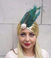 Gold Peacock Feather Turban Headpiece Fascinator 1920s Flapper Headpiece 3584