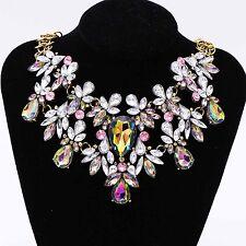 CH New Fashion Pendant Chain Rhinestone Choker Chunky Statement Bib Necklace