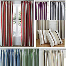 "Stripe 3"" pencil pleat tape top BOLD curtains matching cushion cases SMART"