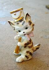 Vintage Porcelain Striped CAT FIGURINE Playing Horn, Wearing Hat, Gold Trim, 5""
