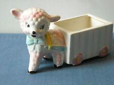 Vintage Lamb & Cart Hand-Painted Planter by Grant Crest Japan