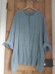 Plumo Grizas Grey Linen Shirt Smock Jacket