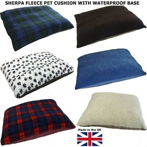 Soft Fleece Pet Dog Bed Cushion With Waterproof Base - 9 Colours & 3 Sizes