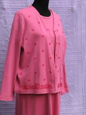 Women's  Dress and Jacket Set Size Large Cotton Knit Deep Pink New Charles Keath