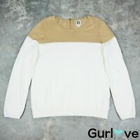 Anne Klein Size XL Women's Sweater Ivory Tan Colorblock Knit Pullover