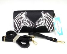 Zebra Crossbody Bag Purse Black Wristlet Wallet Vegan Faux Leather Organizer