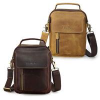 Vintage Real Leather Shoulder Bag For Men Business iPad Crossbody Messenger Bag