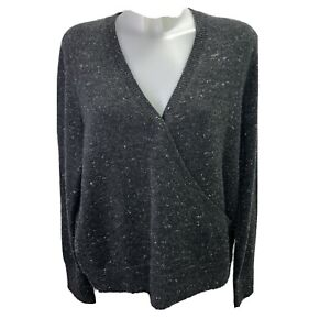 Madewell Women's Donegal Wrap Front Sweater Size XXL Gray Wool Blend J8599 A1
