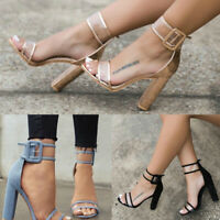 Women Casual Ankle Strap Buckle Sandals Open Toe Summer High Heel  Fashion Shoes