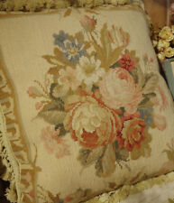 "Gorgeous 18"" ANTIQUE Elegant Aubusson Floral NEEDLEPOINT Pillow Rose Bouquet"