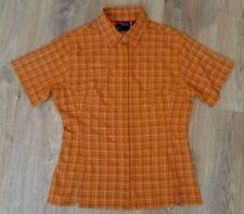 Mammut ladies womens orange checked outdoor summer short sleeve shirt size M