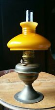 More details for large vintage brass oil lamp and shade sherwoods of birmingham