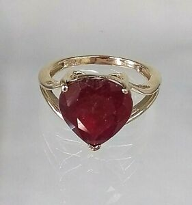 Fantastic Ruby Heart Solitaire Ring 9ct Gold Hallmarked Sz N