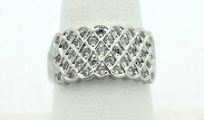 Sterling Silver .925 Sparkling Basketweave Design Cubic Zirconia Ring Sz 10 A388