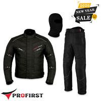 Black Motorbike Waterproof Suit 600D Cordura Textile Motorcycle Jacket & Trouser