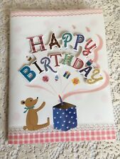 Greeting Card Happy Birthday Teddy Bear Candles Celebration Balloons Red Light