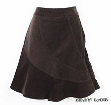 ATL Wide Wale Corduroy A-Line Skirt Unique Curved Panels Womens Petite 6P