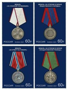 RUSSIA 2021 set 4 v, National Awards of Russia, Medals, MNH **