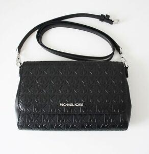 Michael Kors Bag Jet Set Item Md Pouchette Crossbody Black Silver