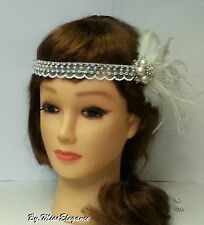 Boho Gatsby flapper headband, 1920s wedding fascinator,bridal feather fascinator