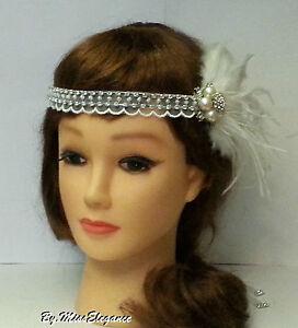 Gatsby flapper headband,1920s wedding fascinator, bridal Boho feather fascinator