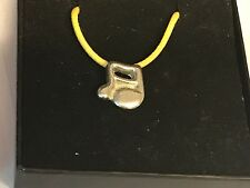 """Music Note TG31A English Pewter On 18"""" Yellow Cord Necklace"""