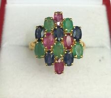 14k Solid Yellow Gold Cluster Ring, Mix Ruby Sapphire Emerald 3.5TCW,Sz 7.5